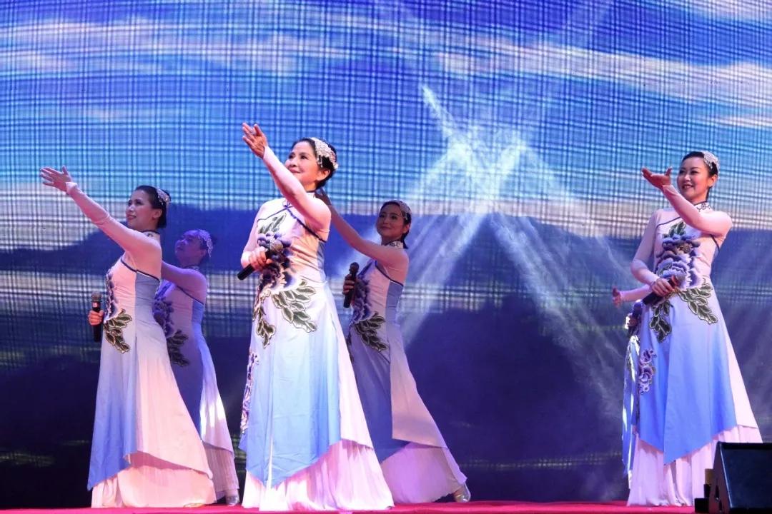 晚会在大合唱《踏雪寻梅》,《迎风飘扬的旗》中精彩落幕.